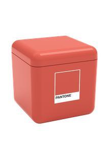 Porta-Algodão/Cotonete Cube 8,5 X 8,5 X 8,5 Cm Coral Pantone Coza