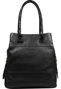 Bolsa Em Couro Recuo Fashion Bag Totem Preto Croco