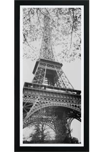 Quadro Em Madeira Com Vidro Cidades Torre Eiffel 27X54Cm