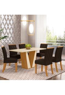 Conjunto De Mesa Com 6 Cadeiras Paris-Henn - Nature / Off White / Marrom