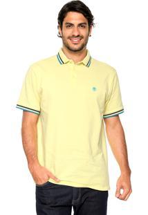 Camisa Polo Timberland Duplo Friso Amarela/Azul