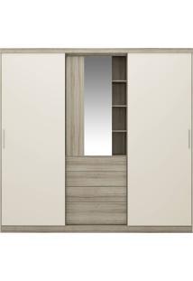 Guarda-Roupa 2 Portas Carraro Zeus 1063 Com Espelho Anis/Camurça Se