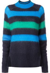Proenza Schouler Suéter Listrado De Lã Mohair - Azul