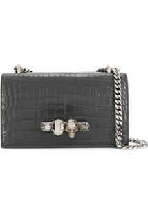 Alexander Mcqueen Jewelled Satchel Bag - Cinza
