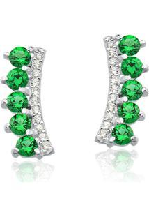 Brinco Prata Rara Linha Coroa Verde Esmeralda