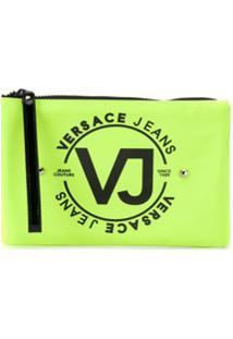 Versace Jeans Necessaire Com Tachas E Logo - Amarelo