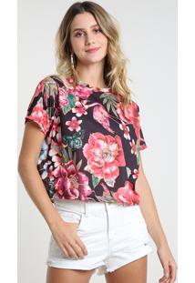 Blusa Feminina Estampada Floral Manga Curta Decote Redondo Preta