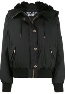 Versace Jeans Couture Jaqueta Bomber Com Zíper - Preto