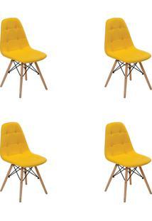 Kit 04 Cadeiras Eiffel Botone S/ Braço Amarela Rivatti