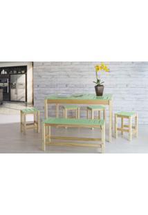 Sala De Jantar De Madeira Maciça Taeda Oga Verniz Natural E Verde Sálvia 120X80X75Cm