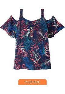 Blusa Estampada Tropical Com Abertura