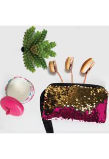 Necessaire Em Paetês Pink E Dourada Com Zíper