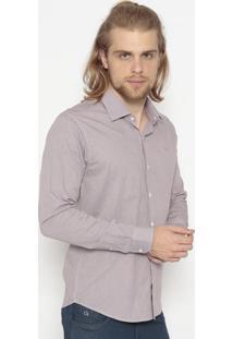 Camisa Slim Fit Xadrez- Marrom & Azulogochi