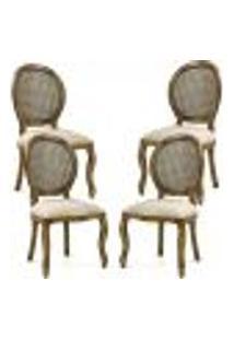 Kit 04 Cadeiras Para Sala De Jantar Cozinha Isla Provençal Oregon Linho Rústico Bege - Gran Belo