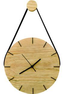 Relógio De Parede Minimalista Natural Com Alça + Pendurador