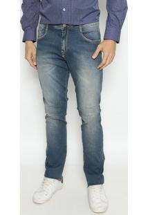 Jeans Reto Slim Fit Com Bolso - Azulindividual