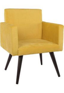 Poltrona Ds Móveis Decorativa Suede Pés Palito Amarela Mobile