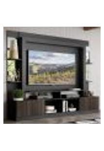 "Rack C/ Painel Tv 65"" Prateleiras C/ Espelho Oslo Multimóveis Preto/Tenerife"