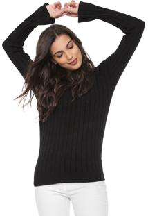 Suéter Facinelli By Mooncity Tricot Mangas Flare Preta