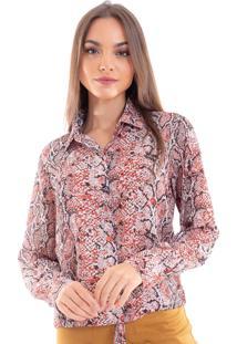 Camisa Estampada Donna Mila Coral