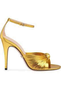 Gucci Sandália Metálica Com Salto 105Mm - Dourado