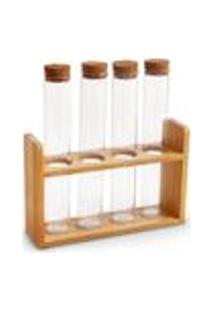 Porta-Temperos 4 Pecas Cork Artex - Tamanho Unico - Transparente