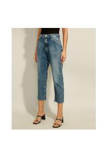 Calça Reta Jeans Cropped Cintura Super Alta Azul Escuro