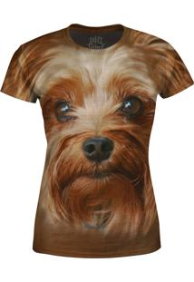 Camiseta Baby Look Yorkshire Terrier Over Fame Marrom