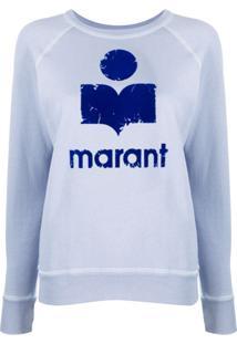 Isabel Marant Étoile Suéter Com Estampa De Logo - Azul