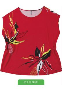 Blusa Plus Size Com Estampa Floral Laranja