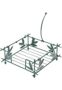 Porta Guardanapos Quadrado De Ferro Fundido Bambu 21X21X9Cm - Unissex
