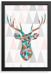 Quadro Decorativo Cervo Geométrico Preto