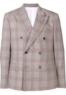 Calvin Klein 205W39Nyc Blazer Com Estampa Xadrez E Abotoamento Duplo - Cinza