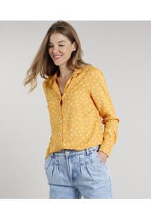 Camisa Feminina Estampada De Poá Com Bolso Manga Longa Mostarda
