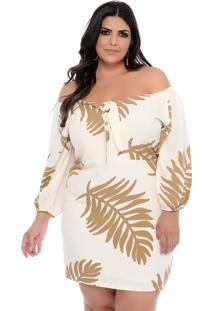 Vestido Plus Size Join Curves Off White Com Laço No Busto
