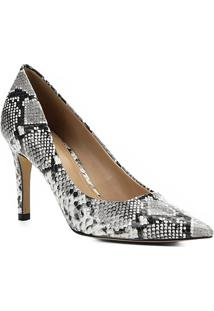 Scarpin Couro Shoestock Snake Salto Alto Bico Fino - Feminino-Preto+Branco