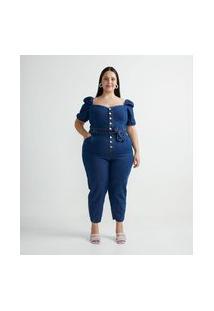 Macacão Longo Em Jeans Com Mangas Bufantes E Cinto Faixa Curve & Plus Size