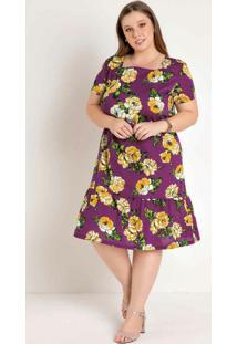 Vestido Floral Púrpura Decote Quadrado Plus Siz