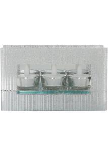 Castiçal De Vidro Espelhado Com Tres Velas Eletricas 20X6,3X12 - Unissex