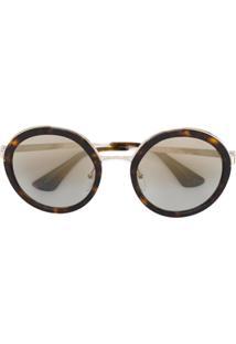 ... Prada Eyewear Óculos De Sol Redondo - Marrom c4b259c11b