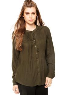Camisa Manga Longa Fiya Lady Khaki Verde