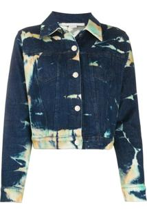 Stella Mccartney Jaqueta Jeans Cropped Tie-Dye - Azul