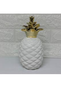 Enfeite E Cobre Abacaxi Branco Com A Coroa Dourada - Dourado - Feminino - Dafiti