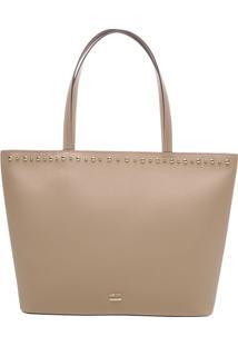 Bolsa Com Bordado & Tag- Nude- 18X34X14Cmarezzo & Co.