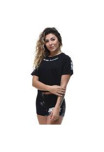 Camiseta Cropped Shatark Clothing - Preto