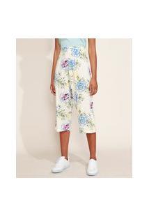 Calça Feminina Pantacourt Estampada Floral Cintura Média Cós Com Elástico Off White