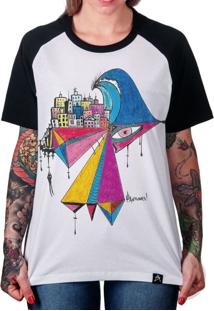 ... Camiseta Artseries Raglan Manga Longa Tsunami Branco 69ecd638c1003