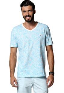 Camiseta Diezo Arabescos Azul Claro & Branca