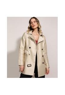 Casaco Trench Coat Feminino Transpassado Com Faixa Para Amarrar Bege