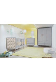 Dormitório Lorena Guarda Roupa 3 Portas Comoda 4 Gavetas Berço Lorena C/ Capitone Carolina Baby Cinza